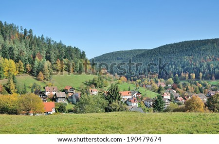Village of Enzkloesterle near Freudenstadt in Black Forest,Baden-Wuerttemberg,Germany