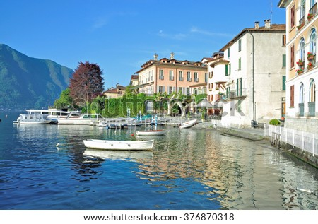 Village of Lenno at Lake Como in italian Lake District,Lombardy,Italy - stock photo