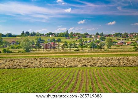 Village of Majurec in green landscape, Prigorje region of Croatia - stock photo