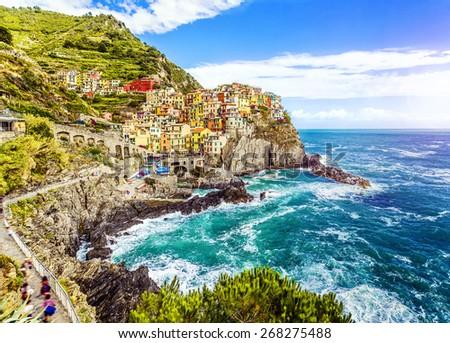 Village of Manarola on the Cinque Terre coast,  La Spezia, Liguria, northern Italy. - stock photo