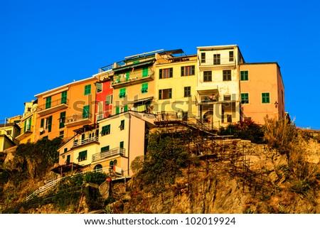 Village of Manarola on the Steep Cliff in Cinque Terre, Italy - stock photo