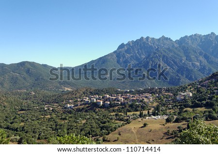 village of Moltifao in Corsica mountains