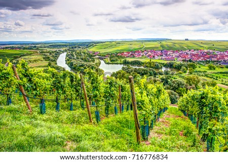 Village of Nordheim in a wine-growing district in Franconia (Germany)