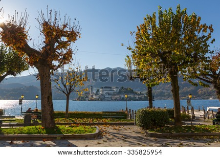 Village of Orta and the Island of San Giulio on Lake Orta (Italy)