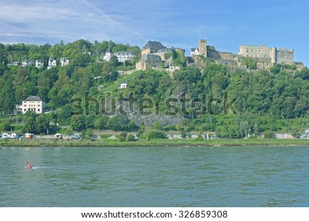 Village of Sankt Goar with Rheinfels Castle at Rhine River,middle Rhine Valley,Rheingau,Rhineland-Palatinate,Germany - stock photo