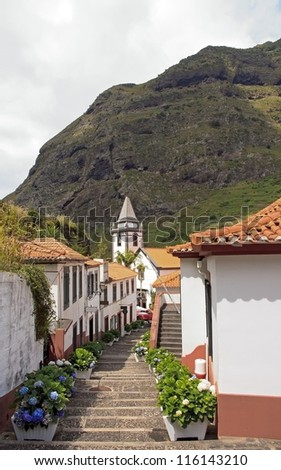 Village of Sao Vicente, church at the bottom of staircases  (Madeira) - stock photo