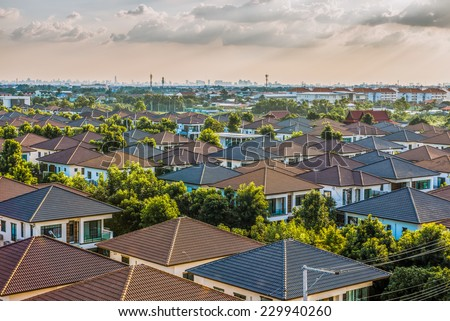 Village of townhouses. View from the height. - stock photo