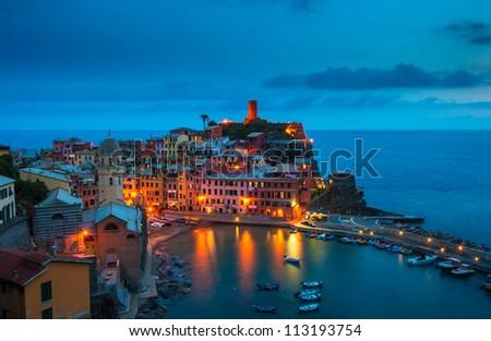 Village of Vernazza, Cinque Terre, Italy - stock photo