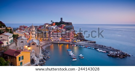 Village of Vernazza, Cinque Terre, Italy - stock photo