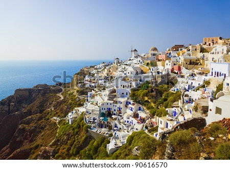 Village Oia at Santorini, Greece - vacation background - stock photo