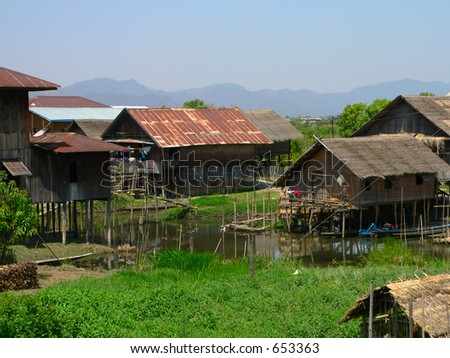 Village on Stilts   Inle Lake, Shan State, Myanmar (Burma) - stock photo