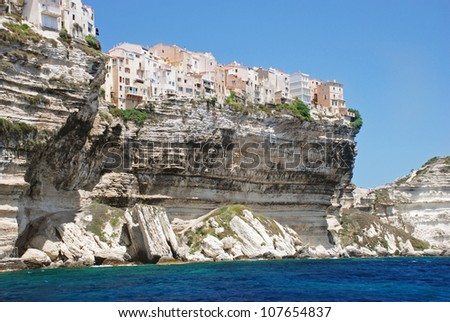 Village on the cliff, Bonifacio, Corsica, France