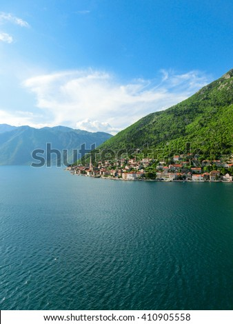 Village Perast on coast of Boka Kotor bay  in Montenegro  - stock photo