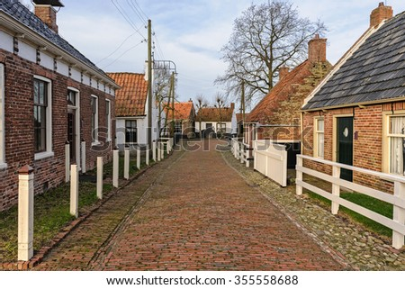 Village street in the open-air museum in Enkhuizen, The Netherlands - stock photo