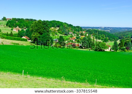 Village Surrounded by Fields in the French Limousen - stock photo