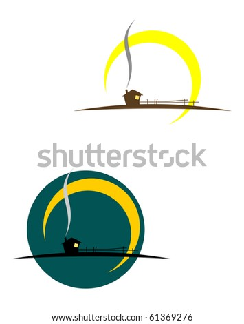 Village symbols isolated on white - also as emblem or logo template. Vector version also available in gallery - stock photo