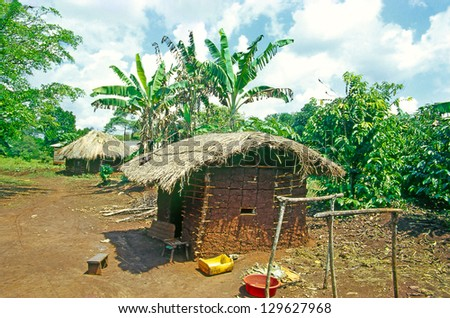 Village the located in Buikwe District in Uganda, Traditional african huts in East Africa, Uganda - stock photo