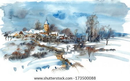 Village with a church in winter, watercolor illustrations - stock photo