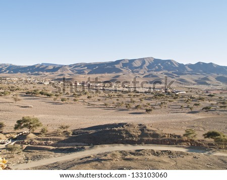 Villages near the foot of the Atlas Mountains, Morocco, Africa. - stock photo