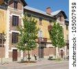 Villaggio Leumann ancient hamlet in Collegno, Turin, Italy - stock photo