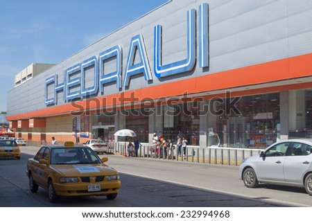 VILLAHERMOSA, MEXICO - NOVEMBER 23, 2014: Chedraui is the third largest retailer in Mexico with over 212 stores in the country. - stock photo
