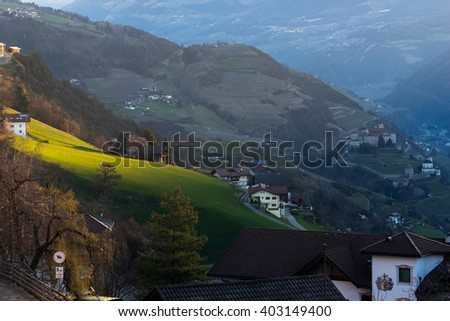 VILLANDERS, SOUTH TYROL/ITALY - MARCH 27 : View of Villanders at Dawn South Tyrol in Italy on March 27, 2016