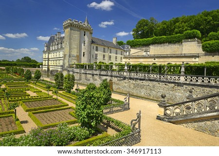 VILLANDRY, FRANCE - JULY 11, 2015: Chateau de Villandry is a castle-palace located in Villandry, in department of Indre-et-Loire, France. He is a world known for its amazing gardens.