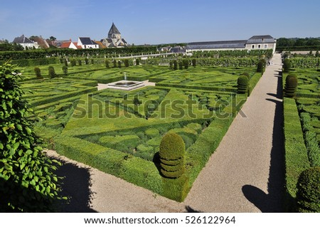 VILLANDRY, FRANCE - JUNE,2013 - Garden with Castle Villandry. The Chateau of Villandry is the last of the great chateau of the Loire built during the Renaissance in the Loire Valley.