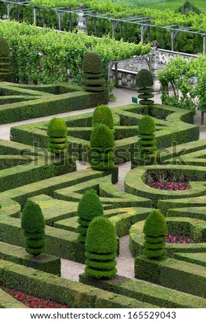 VILLANDRY, FRANCE - JUNE 24, 2013: Villandry chateau and its garden,--one of the most beautiful gardens in all France