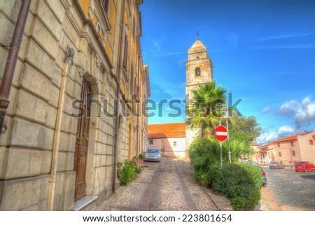 Villanova Monteleone square in hdr tone - stock photo