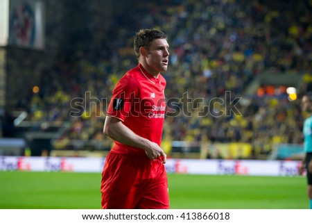 VILLARREAL, SPAIN - 28 APR: James Milner plays at the Europa League semifinal match between Villarreal CF and Liverpool FC at the El Madrigal Stadium on April 28, 2016 in Villarreal, Spain. - stock photo