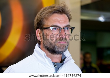 VILLARREAL, SPAIN - 28 APR: The coach Jurgen Klopp at the Europa League semifinal match between Villarreal CF and Liverpool FC at the El Madrigal Stadium on April 28, 2016 in Villarreal, Spain. - stock photo