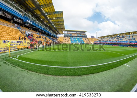 VILLARREAL, SPAIN - MAR 20: Fisheye view of the El Madrigal, stadium of the Villarreal Club of Football on March 20, 2016 in Villarreal, Spain.