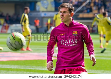 VILLARREAL, SPAIN - MAR 20: Leo Messi warms up prior to the La Liga match between Villarreal CF and FC Barcelona at El Madrigal Stadium on March 20, 2016 in Villarreal, Spain. - stock photo