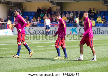 VILLARREAL, SPAIN - MAR 20: Neymar (r), Messi (c) and Luis Suarez (l) warm up prior to the La Liga match between Villarreal CF and FC Barcelona at El Madrigal on March 20, 2016 in Villarreal, Spain.