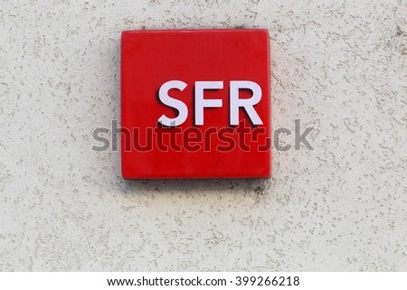 Villefranche, France - March 27 2016: SFR is a French telecommunications company that provides voice, video, data, and Internet telecommunications and professional services to consumers