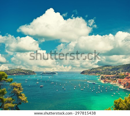 Villefranche, Provence, french riviera, Mediterranean Sea. View of luxury resort and bay of Cote d Azur. Vintage style toned picture - stock photo