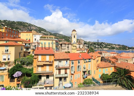 Villefranche-sur-Mer city overview on a summer day - stock photo