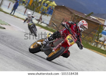 VILLENA, SPAIN - MAY 29: Anthony Ford Dunn pilot of motorcycling in the Spanish championship of supermotard on May 29, 2012, Villena Spain - stock photo