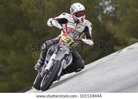 VILLENA, SPAIN - MAY 29: Israel Escalera pilot of motorcycling in the Spanish championship of supermotard on May 29, 2012, Villena Spain - stock photo