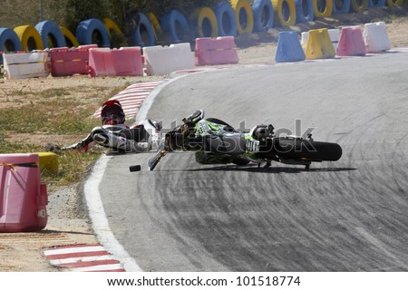 VILLENA, SPAIN - MAY 29: Unidentified rider have an accident in the Spanish championship of supermotard on May 29, 2012, Villena Spain - stock photo