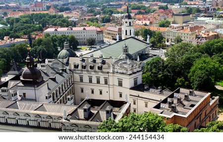 Vilnius Cathedral and old town panorama  - stock photo