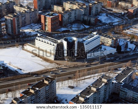 Vilnius city aerial view - Lithuanian capital bird eye view.