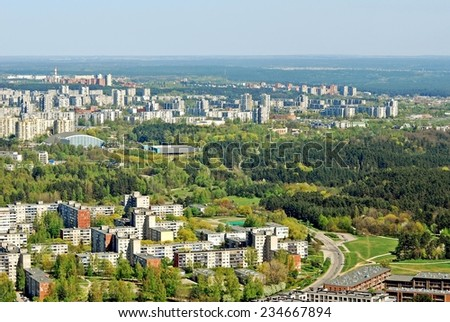 Vilnius city capital of Lithuania aerial view from Karoliniskes at spring 2014