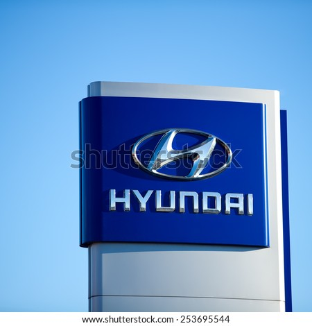 VILNIUS - FEB 17: Hyundai dealership logo on Feb. 17, 2015, Vilnius, Lithuania. The Hyundai Motor Company is a South Korean multinational automotive manufacturer headquartered in Seoul, South Korea. - stock photo