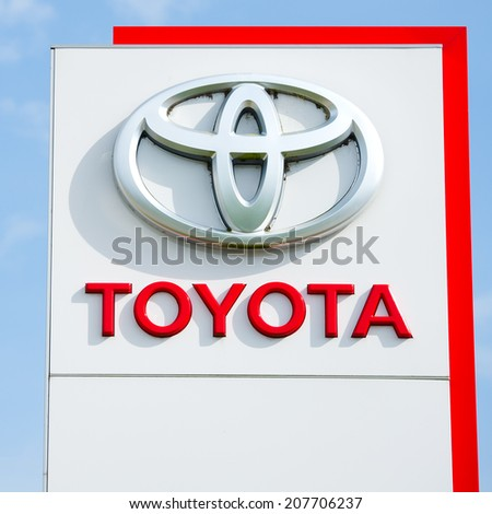 VILNIUS - JULY 6: Toyota logo on July 6, 2014 in Vilnius, Lithuania. Toyota Motor Corporation is a Japanese automotive manufacturer. It is the fourteenth-largest company in the world by revenue.