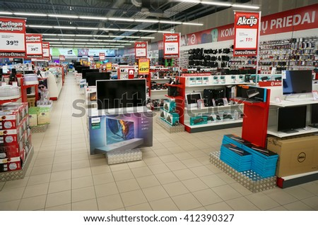 VILNIUS, LITHUANIA - APRIL 27, 2016: Elektromarkt consumer electronics  store in Nordika hyper market. Discounts and bonuses are offered. Is the  largest seller of equipment  was founded in 1994