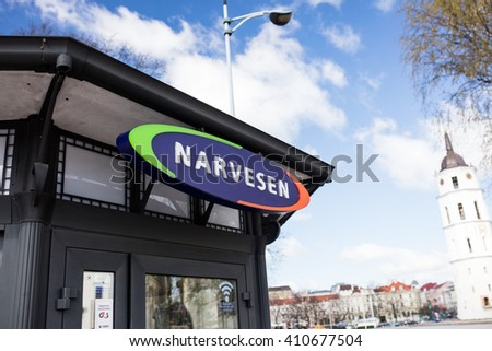 VILNIUS,LITHUANIA - APRIL 23,2016: New booth of a distribution network of Narvesen where sell the press, coffee, cigarettes, drinks and fast food. In Lithuania 260 Narvesen shops work with 700 workers