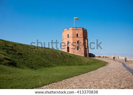 vilnius lithuania april 29 2016 tower of gediminas is the remaining part of