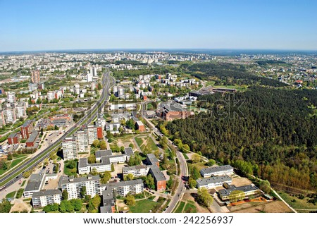 VILNIUS, LITHUANIA - APRIL 26: Vilnius city capital of Lithuania aerial view from Karoliniskes on April 26, 2014, Vilnius,  Lithuania.